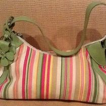 Fossil Multi Colored Striped Purse Summer Colors One Handle and a Flower Photo
