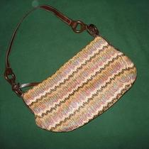 Fossil - Multi-Colored Woven W/brown Wood Purse - Zip Closure Photo