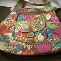 Fossil Multi Colorful Flower Print Cloth Canvas Tote Bag Shoulder Carryall Purse Photo