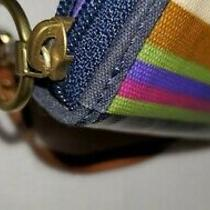 Fossil Multicolor Stripes Coated Canvas Card Organizer Zip Purse Wallet Wristlet Photo