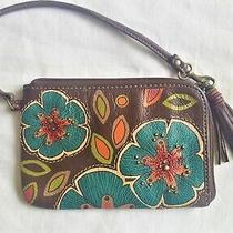 Fossil Multicolored Flowers on Brown Leather 6 3/8