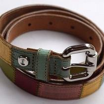 Fossil Multicolored Patchwork Leather Belt Silver Buckle Womens M Photo