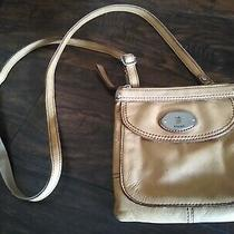 Fossil Mustard Yellow Leather Messenger Crossbody Purse Tan Brown Bag Distressed Photo