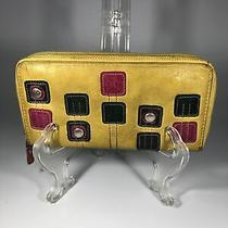 Fossil Mustard Yellow Leather Zip Around Clutch Wallet With Sqaure Patches Photo