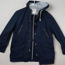 Fossil Navy Blue Cotton Parka Hooded Barn Field Jacket - Men's L - Striped Trim Photo