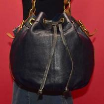 Fossil Navy Blue Leather Drawstring Hobo Shoulder Bucket Cross-Body Purse Bag Photo