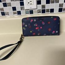 Fossil Navy Blue Leather Polka Dot Wallet Organizer Wristlet Photo