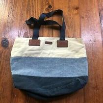 Fossil Navy Blue & White Canvas Tote Handbag Purse Photo