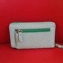 Fossil New W/ Tags Green White Teal Wallet W/ Iphone Pocket Leather Multi Photo
