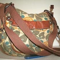 Fossil No. Zb2514 Nice and Cute Neutral Color Canvas and Leather Crossbody Bag Photo