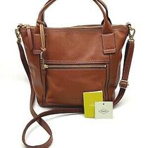 Fossil Nwt 198 Audelia Leather Satchel Crossbody Bag Purse in Medium Brown Photo