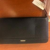 Fossil Nwt Black Clutch Large Zip Wallet (Slight Dent in Front) Photo
