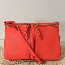 Fossil Nwt Erin Small Leather Top-Zip Crossbody Shoulder Bag Lipstick Orange 98 Photo