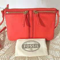 Fossil Nwt Erin Small Leather Top-Zip Crossbody Shoulder Bag Lipstick Orange 98 Photo