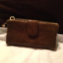 Fossil Olive Green Leather Wallet Very Nice Photo