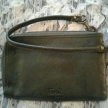 Fossil Olive Green Leather Wristlet Wallet With Green Print Lining  Photo