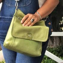 Fossil Olive Green Women Crossbody Bags Leather Multi Compartment Purse Photo