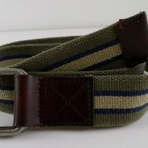 Fossil Olive Stripe Men's Canvas and Leather Belt Size S/m Msrp 30 Webster Photo