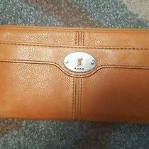 Fossil Orange Colored Large Zipper Wallet  Photo