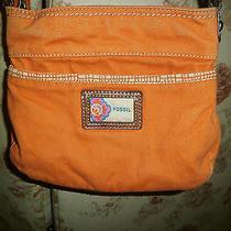 Fossil Orange Cotton Canvas Crossbody Bag Small and Cute Photo