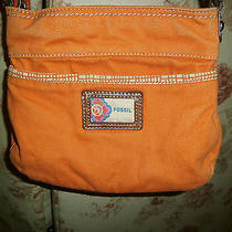 Fossil Orange Cotton Canvas Crossbody Bag Small and Cute Photo