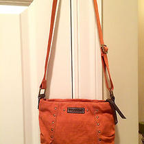 Fossil Orange Crossbody Shoulder Bag Small Canvas & Leather- Mint Condition Photo