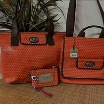 Fossil Orange Key Per Tote Satchel  Wallet Set 3 Piece Purse Pink Interior. Photo