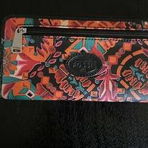 Fossil Orange Pink Black Floral Coated Canvas Zip Wallet Organizer Clutch Photo