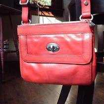 Fossil Orange-Red Leather Cross Body Bag Photo