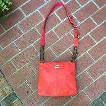 Fossil Orange/red Messenger Crossbody Bag/tote/purse Nwt (178) Photo