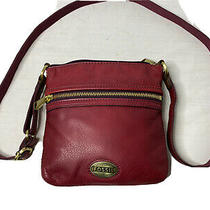 Fossil Organizer Bag Red Pebbled Leather Cross Body Messenger Adjust Strap Purse Photo