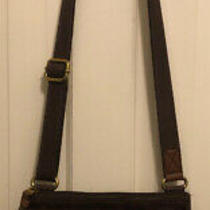 Fossil Organizer Saddle Brown Leather Flap Messenger Crossbody Bag Zip Snap Euc Photo