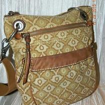 Fossil Original Brand Canvas/leather Swingpack Hobo Shoulderbag Crossbody Gruc Photo