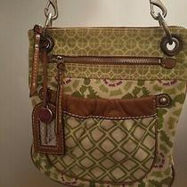 Fossil Original Brand Leather Canvas Cross Body Shoulder Bag Purse Green Diamond Photo