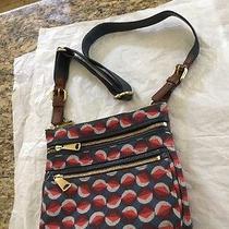 Fossil Original Brand Top Zip Floral Canvas/ Leather Crossbody Messenger Handbag Photo