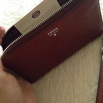 Fossil Original Brown Zip Clutch Leather Women's Wallet Photo