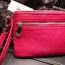 Fossil Original Sl6778622 Real Red Small Zip Wristlet Leather Retails 60 Photo