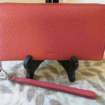 Fossil Original Sl7159p Emma Rfid Clutch Rose Pink Leather Women's Wallet Euc Photo