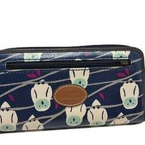 Fossil Owl Print Wallet Nave Blue  Photo