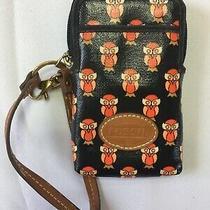 Fossil Owl Wristlet Wallet Black and Orange Photo