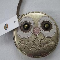 Fossil Owl Zip Coin Purse Gold Metallic Leather Nwt Photo