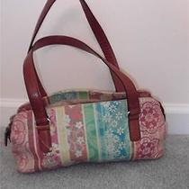Fossil Painted Pastel Leather Satchel Style Handbag 3 Areas Double Handles 12x6 Photo