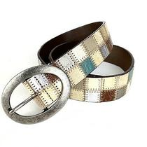 Fossil Patchwork Belt Leather Size S Multi Colored Blue Tan Silver Gold  Photo
