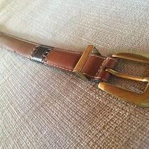 Fossil Patchwork Hippie Boho Style Leather Belt Maddox Brass Buckle Women's L Photo