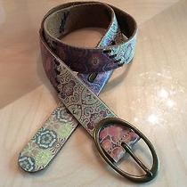 Fossil Patchwork Leather Floral Hippie Woven Boho Belt M Brass Buckle Womans Photo