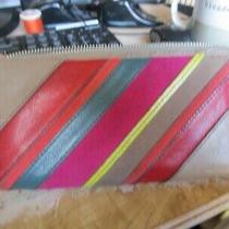 Fossil Patchwork Leather & Suede Zip Around Key Clutch Wallet Sl4063 Stripe Photo