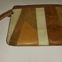 Fossil Patchwork Leather Suede Zip Around Wristlet Photo