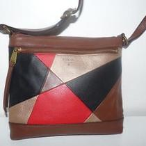 Fossil Patchwork Leather Swingpack Crossbody Messenger Red-Gold-Brown-Black Photo