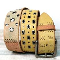 Fossil Patchwork Tan Brown Gray Beige Stud Stitch Leather 1.5