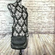 Fossil Payton Womens Double Flap Crossbody Messenger Bag Black Leather Photo